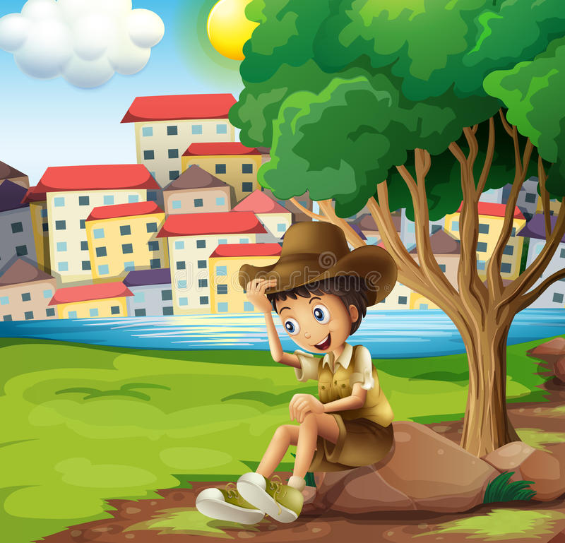 A young explorer sitting above the rock across the tall building vector illustration