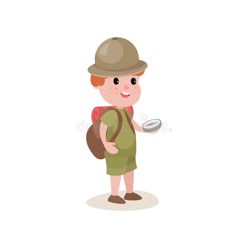 Free Young Explorer With Compass In Hands And Backpack On Shoulders Royalty Free Stock Image - 103450046