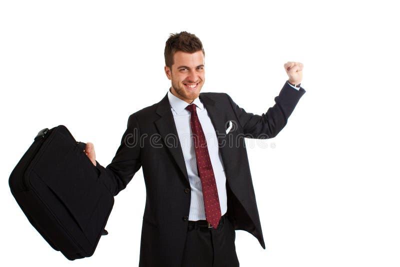 Young exultant businessman stock photo