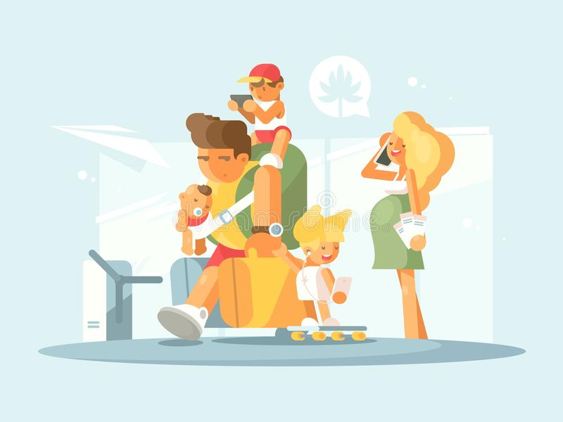 Young family at airport vector illustration