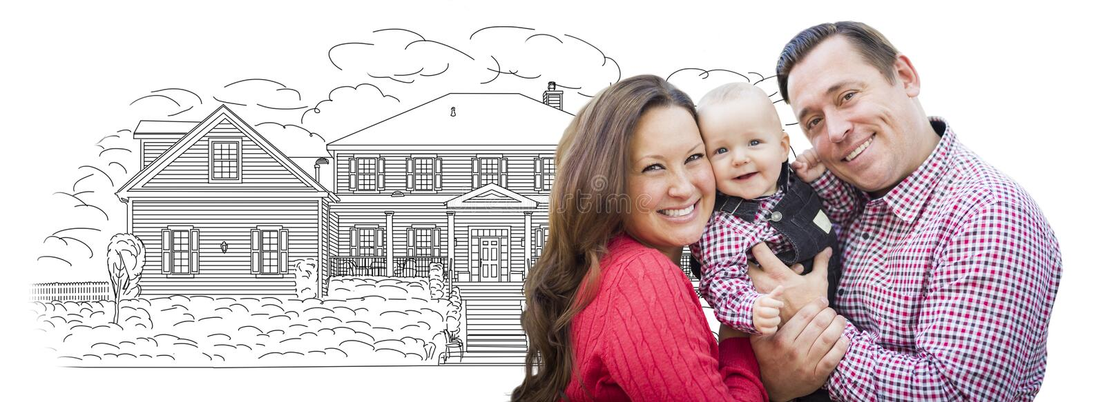 Young Family With Baby Over House Drawing on White. Happy Young Family With Baby Over House Drawing Isolated on a White Background royalty free stock photography