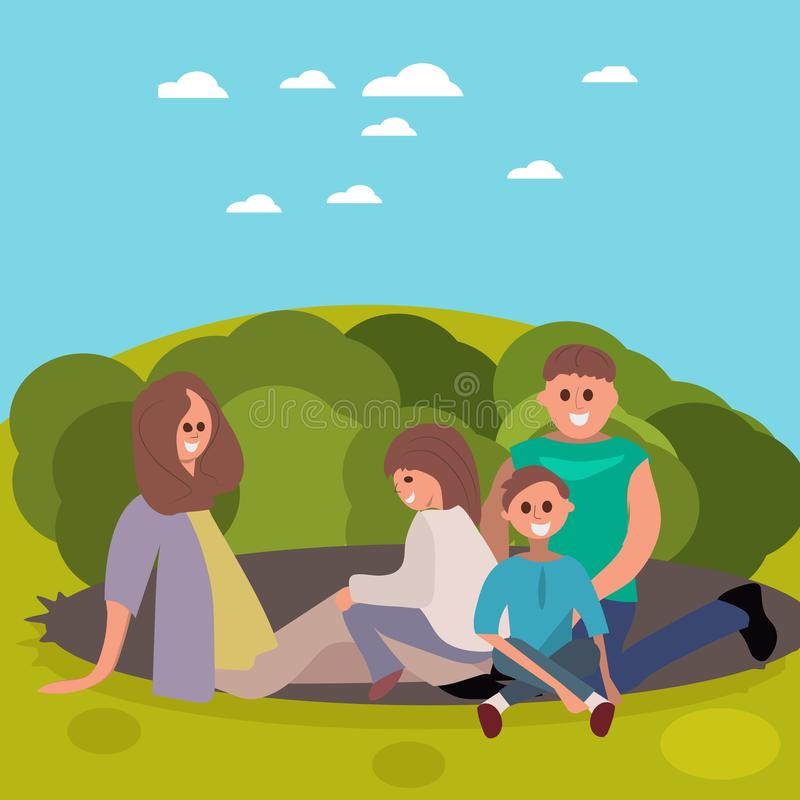 Family having picnic. An illustration of a happy family having a picnic in a field royalty free stock images