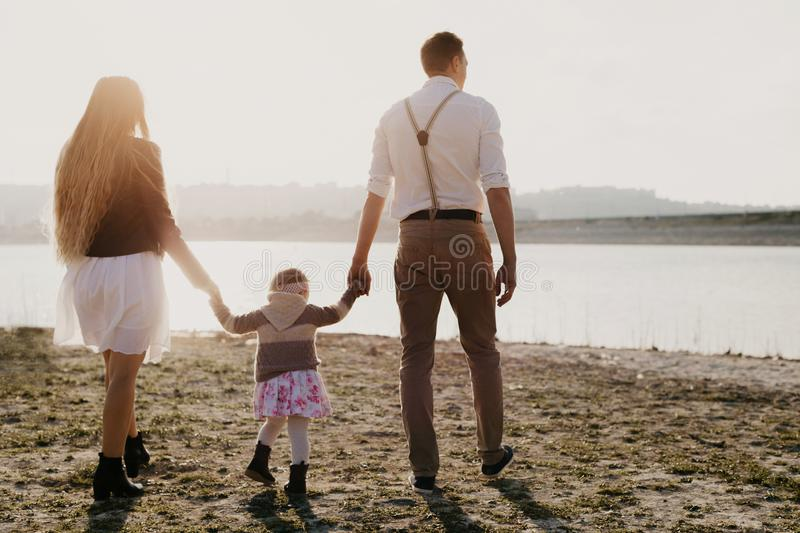 Young family with children having fun outdoor royalty free stock image
