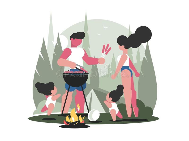 Young family with children on picnic royalty free illustration