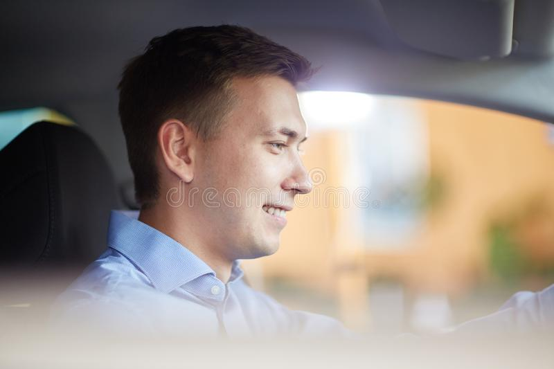 Handsome man. New auto business, sale, family and people concept. royalty free stock photography