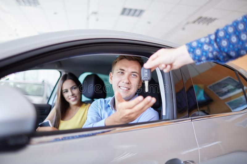 New auto business, sale, family and people concept. stock photo