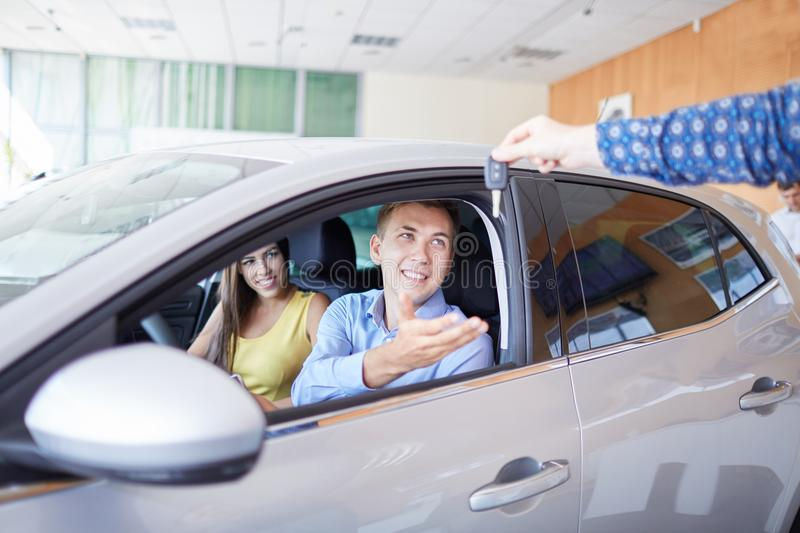 New auto business, sale, family and people concept. stock images