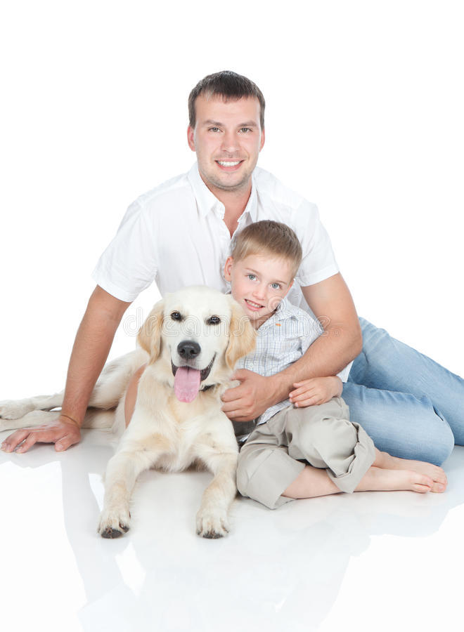 A young family with a dog royalty free stock photography