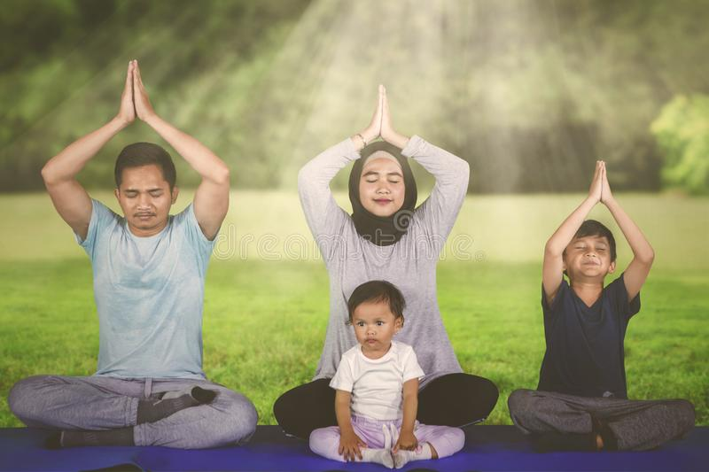 Young family doing yoga exercises in the park royalty free stock photo