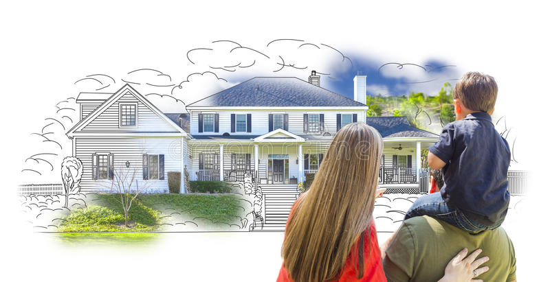 Young Family Facing House Drawing and Photo stock photos