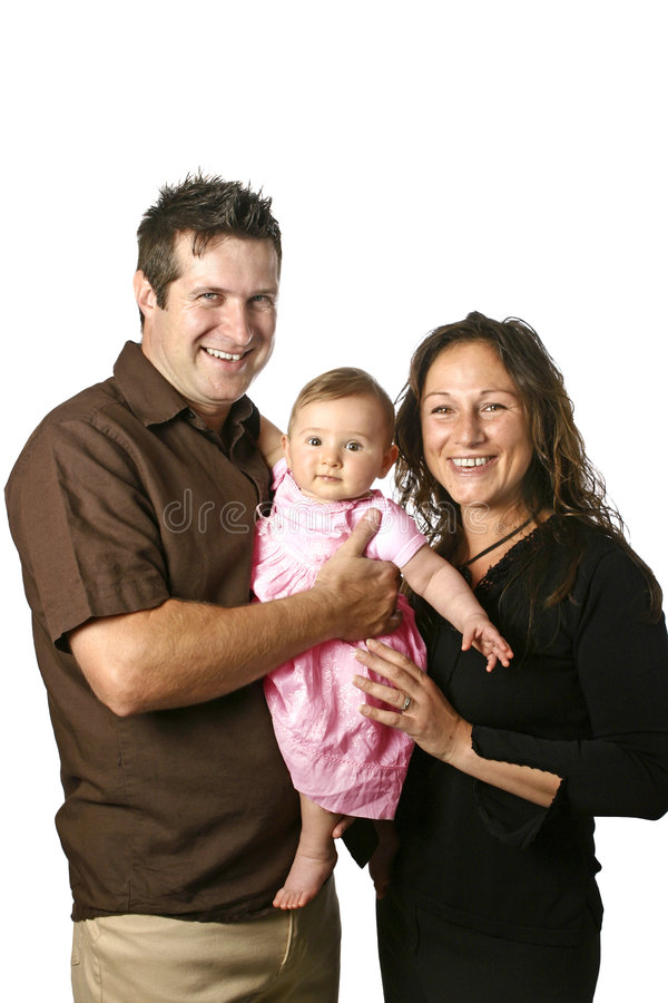 Young family with father holding baby stock images