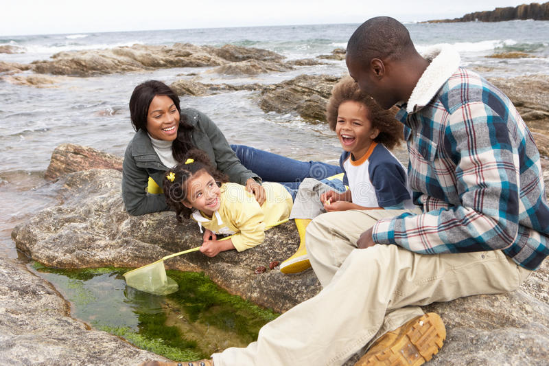 Young family with fishing net on rocks stock photos