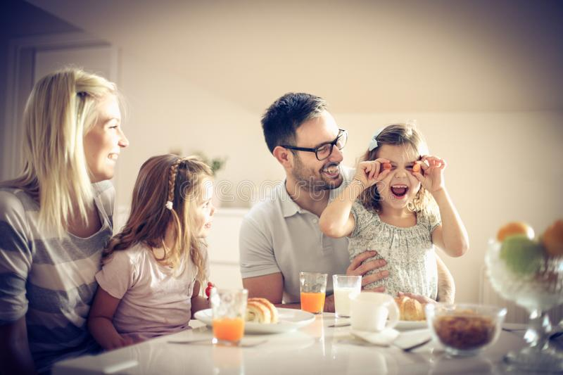 Play and breakfast. stock photo