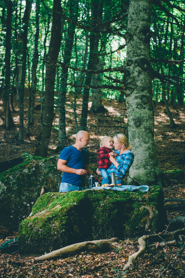Young family having a picnic in a forest royalty free stock photos