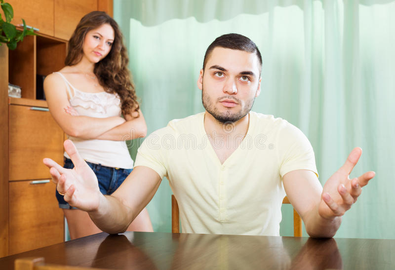 Young family having quarrel. At home royalty free stock photography