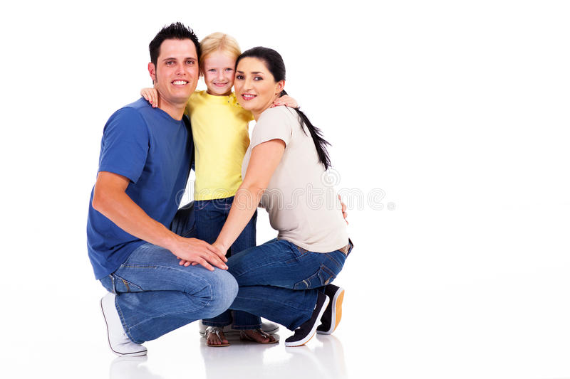 Young family isolated royalty free stock photography