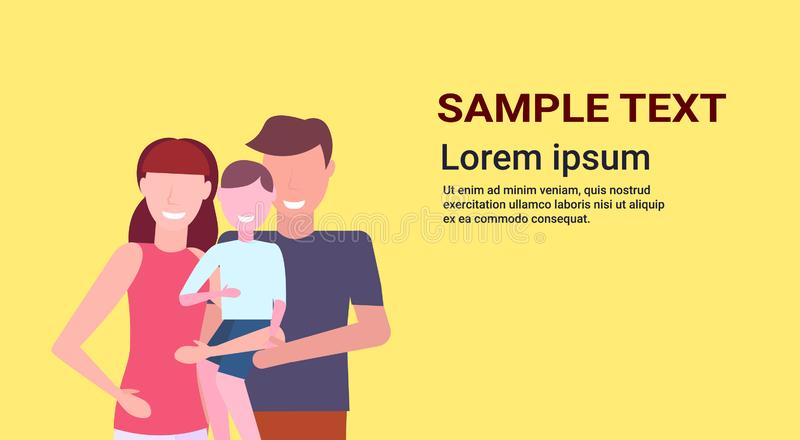 Young family loving parents holding little son mother father and child boy standing together cartoon characters portrait vector illustration