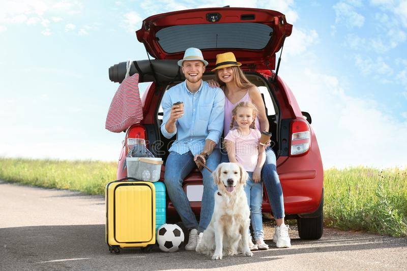 Young family with luggage and dog near car trunk stock photos