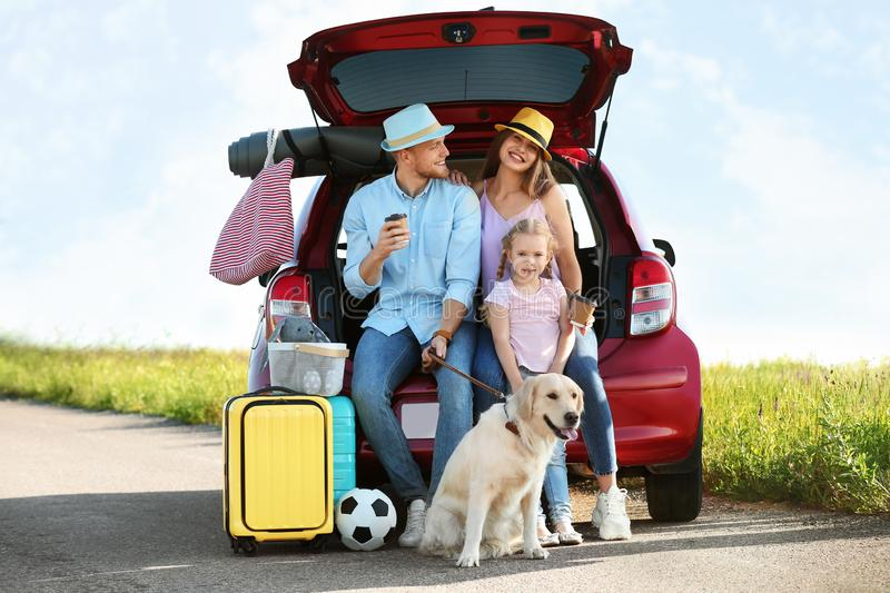 Young family with luggage and dog near car trunk stock images