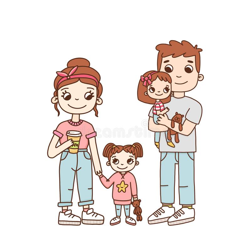 Young family, mom, dad and two daughters. royalty free illustration