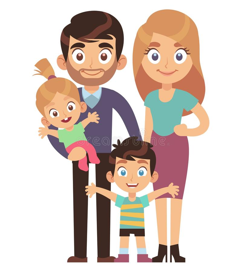 Young family. Mother and father with kids brother sister traditional relationship society character flat vector stock illustration