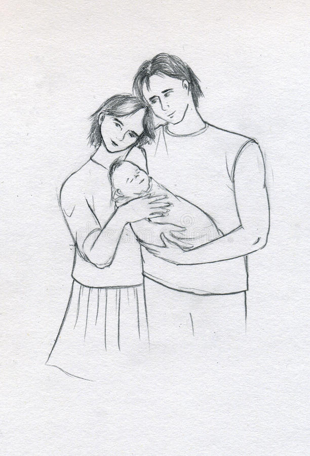 Young family with newborn royalty free illustration