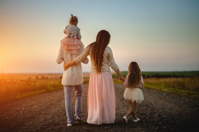 Young family outdoor royalty free stock photography