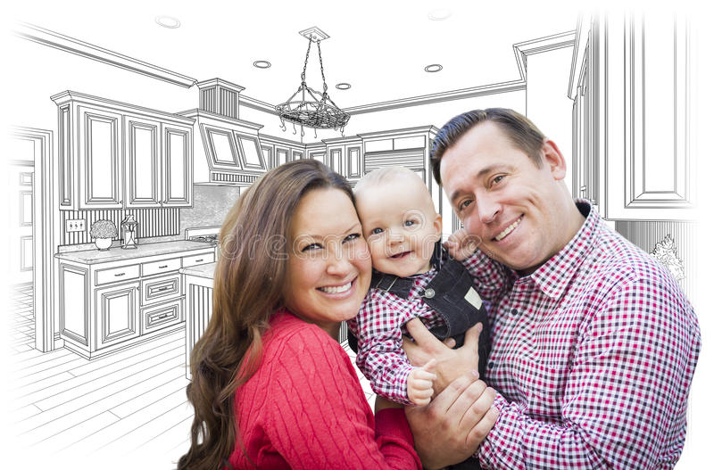 Young Family Over Custom Kitchen and Design Drawing. Happy Young Family Over Custom Kitchen and Design Drawing royalty free stock images