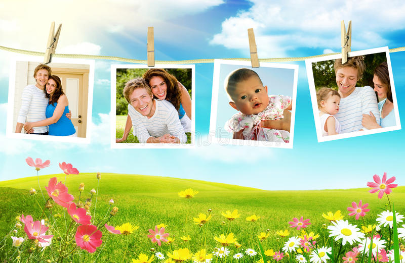 Young family photos royalty free stock image