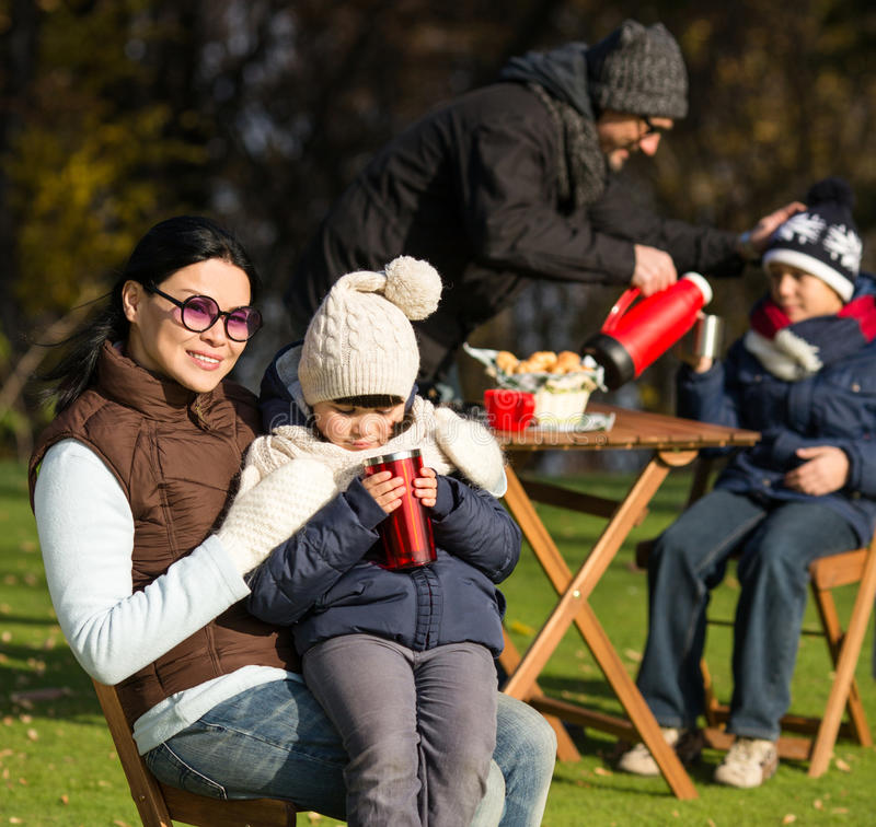 Young family on a picnic royalty free stock photos
