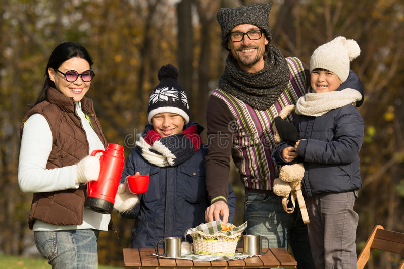 Young family on a picnic stock photography