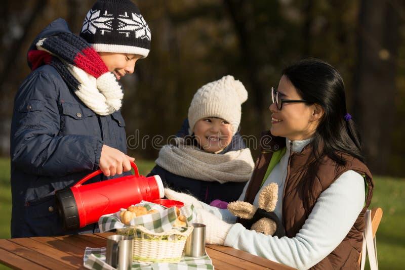 Young family on a picnic stock photos