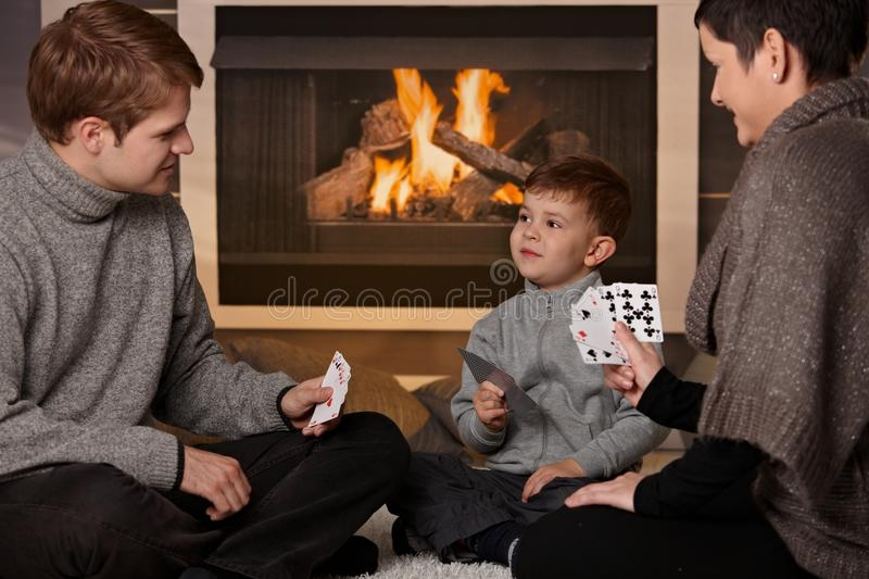 Download Young Family Playing Card Game Stock Image - Image: 22665023