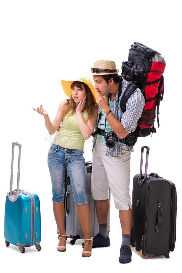 The young family preparing for vacation travel on white royalty free stock photo