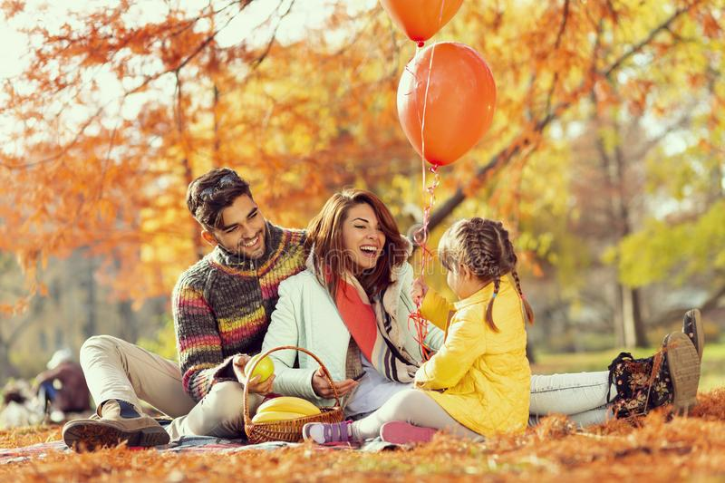 Family autumn day in nature royalty free stock photography