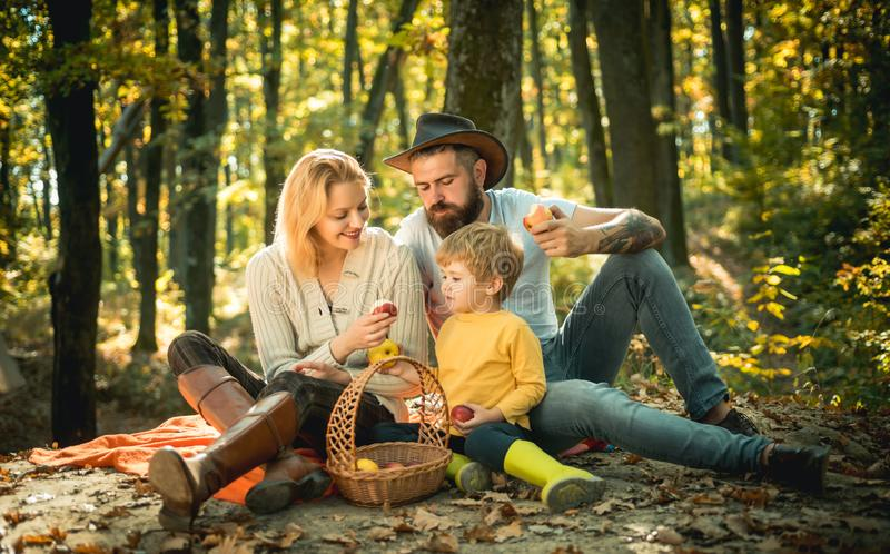 A young family with small child having picnic in autumn nature at sunset. There is a basket with meal and toys for the royalty free stock image