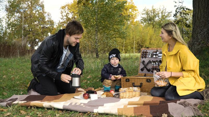 Family picnicking in the park. Young family with son at a picnic in the park on a sunny day.Family having picnic outdoors.Cute family picnicking in the park royalty free stock photography