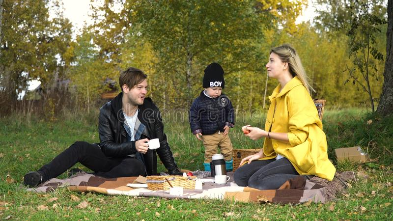 Family picnicking in the park. Young family with son at a picnic in the park on a sunny day. Family having picnic outdoors. Young smiling family doing a picnic stock photo