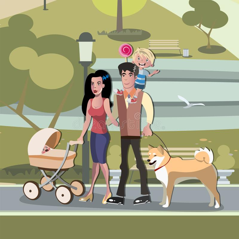 Young family with toddler and baby walking in park. Vector illustration vector illustration