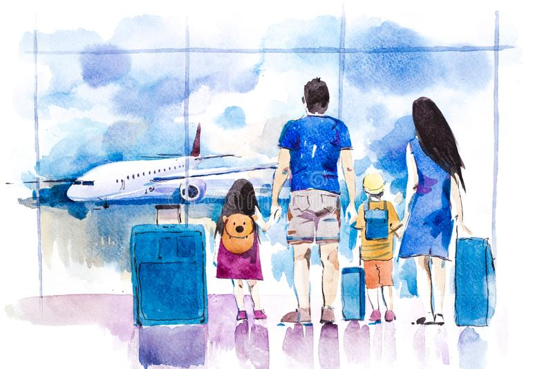 Young family travelling in international airport standing near window. stock illustration