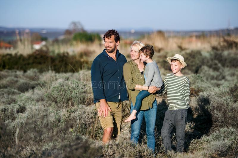 Young family with two small children standing outdoors in nature. stock images