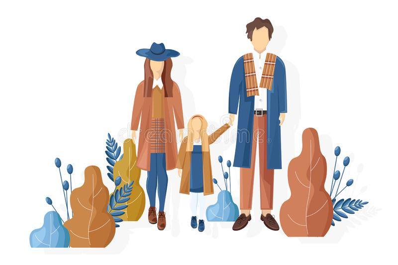 Young family walking in the park autumn Vector. Fall season lifestyle couple and a child. Stylish clothes trendy colors. Young family walking in the park autumn vector illustration