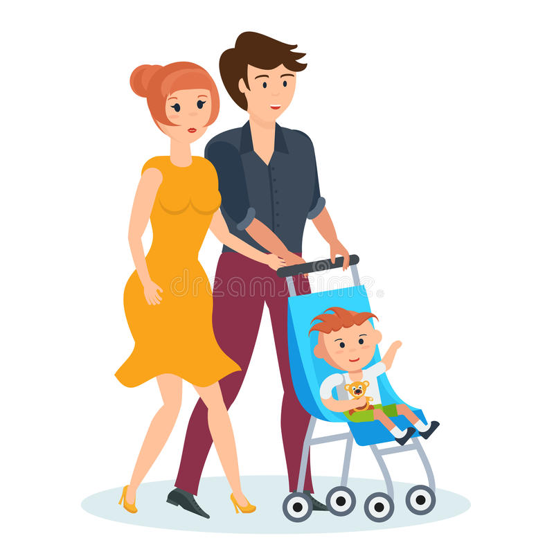 Young Family Walking In Park Spends Time Together With