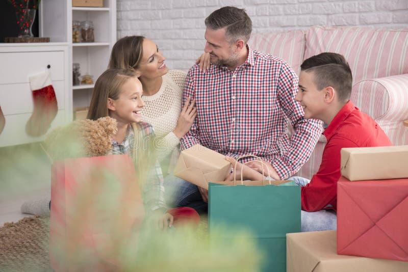 Happy family at christmas royalty free stock photography