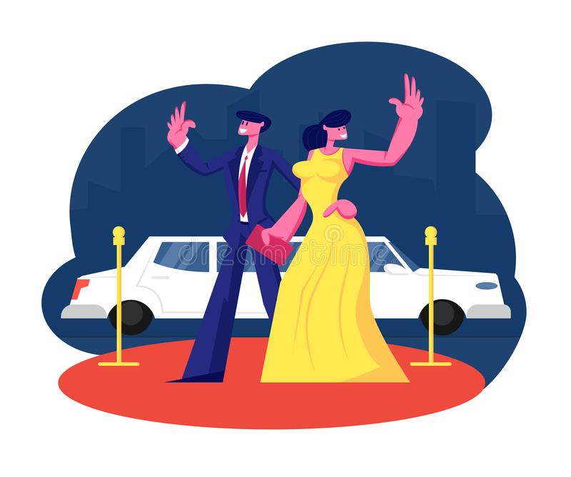 Young Famous Couple on Red Carpet Stand at Limousine Waving Hands. Woman in Dress and Man in Suit Actors royalty free illustration