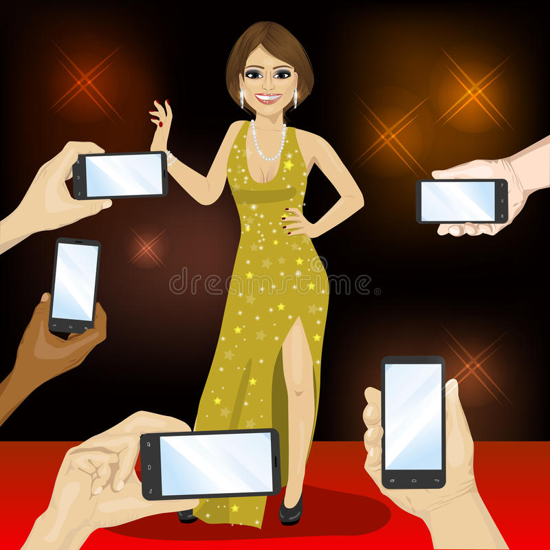 Young famous woman posing on red carpet for people with smartphones stock illustration