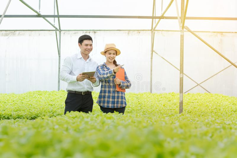 Young farmer Asian woman point hand with businessman in the hydroponics vegetable organic greenhouse farm. Successful of. Young farmer Asian women point hand stock photos