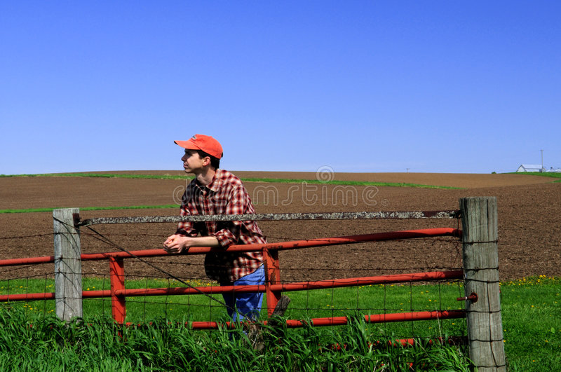 Young farmer at the gate. Young farmer stands by gate looking off into the distance royalty free stock images