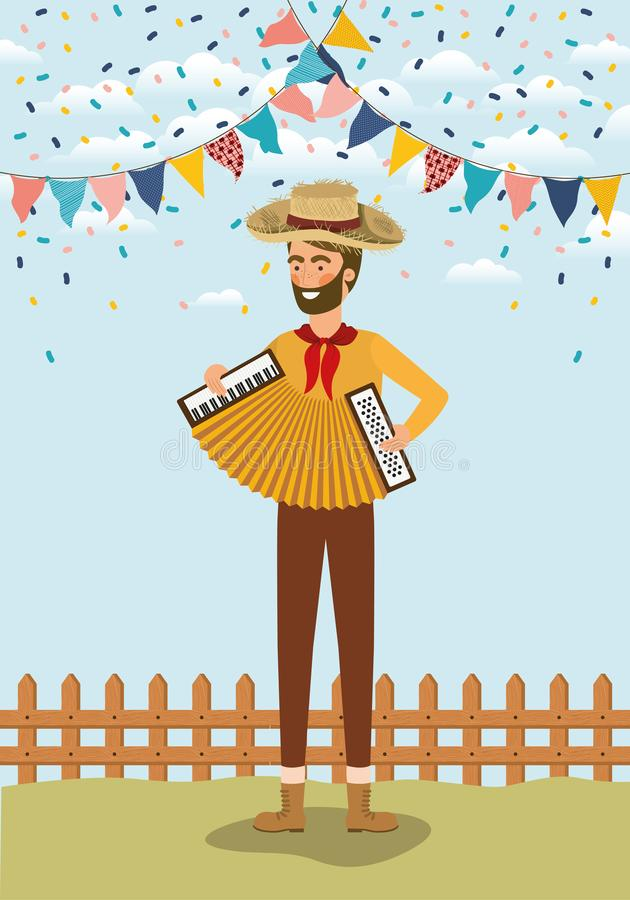 Young farmer playing accordion with garlands and fence. Vector illustration design stock illustration