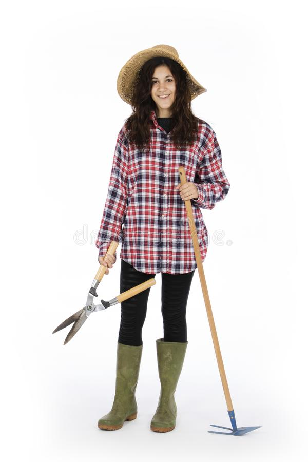 Young farmer with work tools stock images